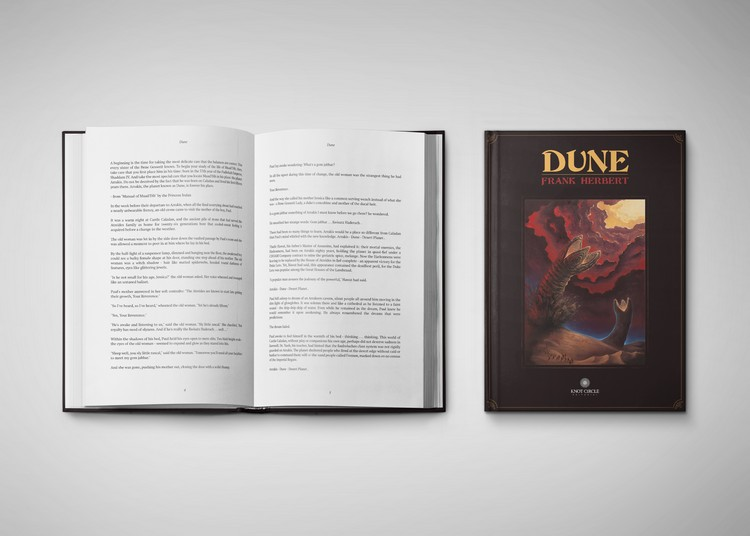 «Dune» book front cover and interior pages design