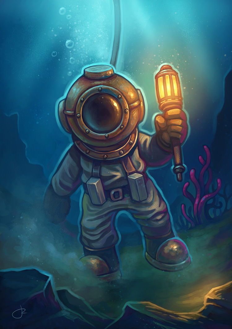 Deep diver suit illustration