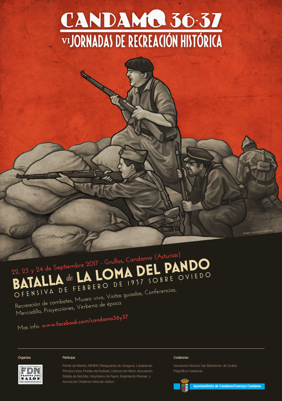 Spanish Civil War reenactment poster design - Battle of La Loma del Canto 1937