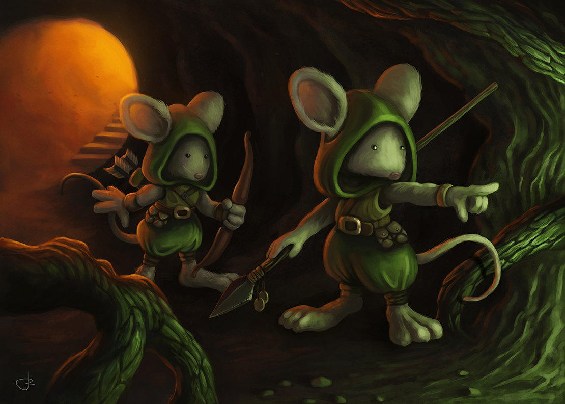 «Scout mice» fantasy children illustration