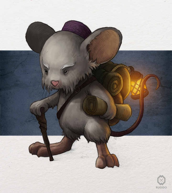 Fantasy mouse character design for children book illustration