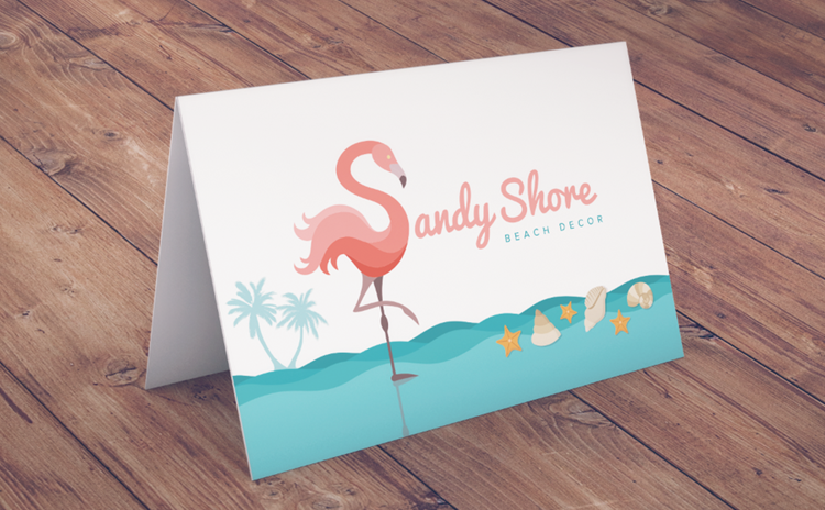 Sandy shore beach decor thank you card