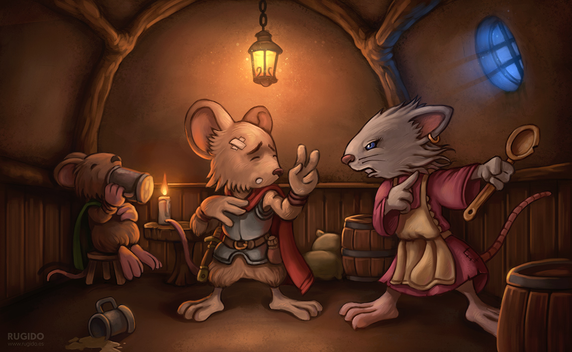 «Tavern Trouble» fantasy children illustration