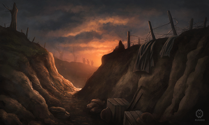 Landscape concept art picture depicting a trench in the First World War.