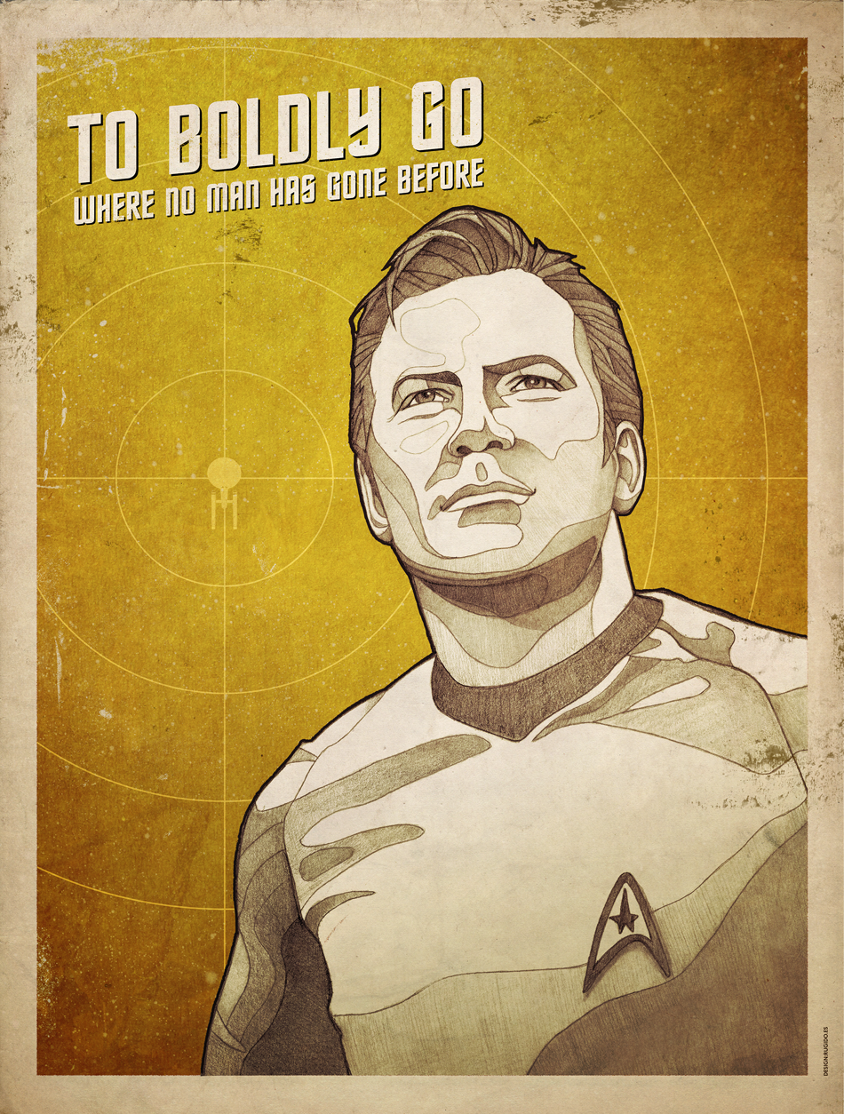 Star Trek Kirk poster - To Boldly go where no man has gone before
