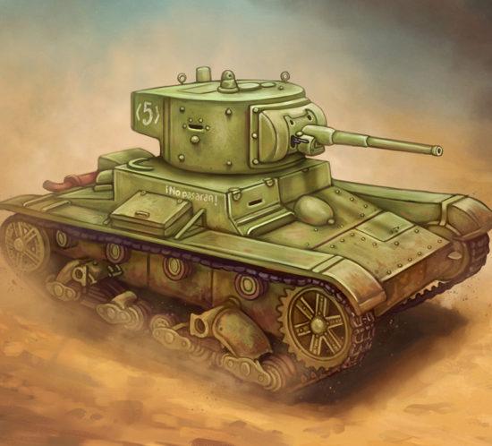 Ilustración militar de un carro de combate T26