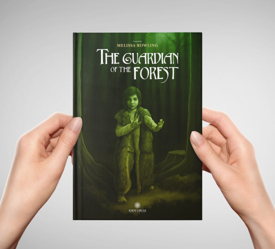 Hands holdiing «The Guardian of the Forest» fantasy novel cover design