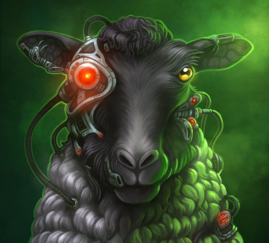 Illustration of a sheep that has been assimilated by the Borg Collective
