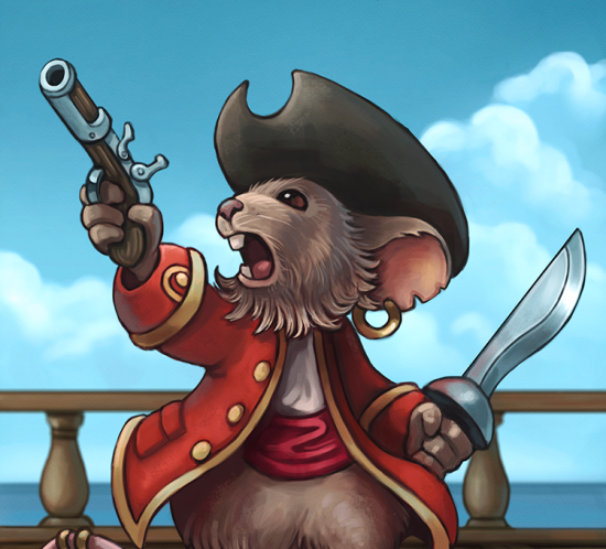 Mouse pirate captain illustration