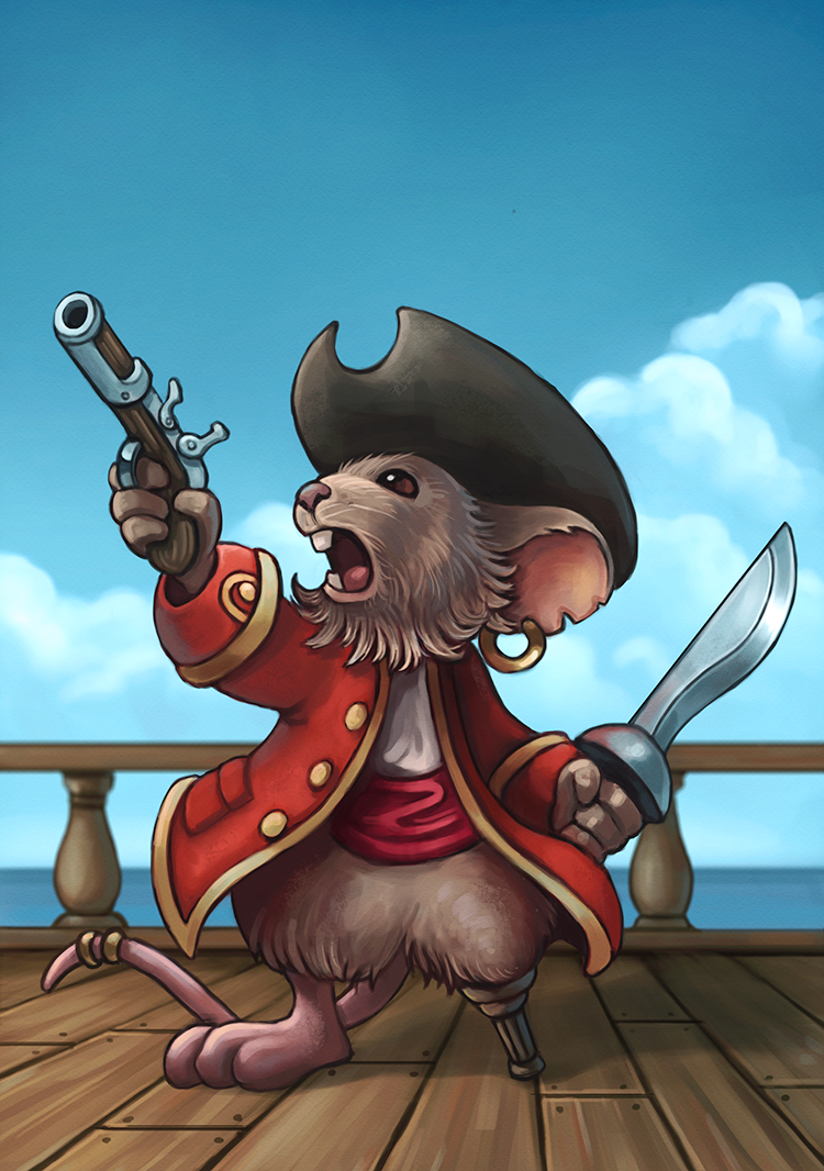 Mouse pirate captain illustration