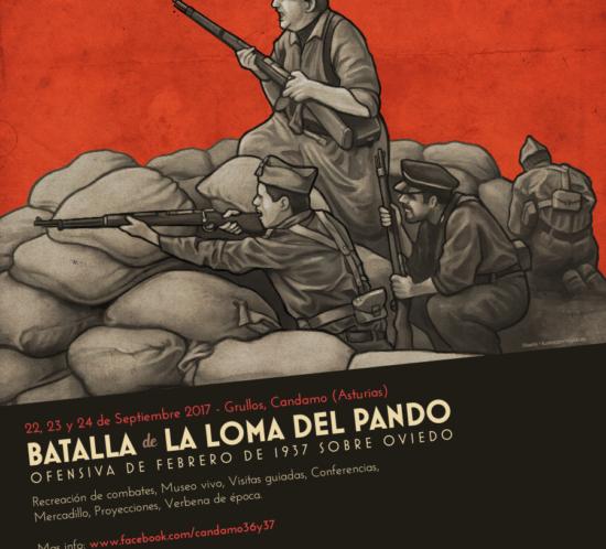 Spanish Civil War reenactment poster design - Battle of La Loma del Canto 1937