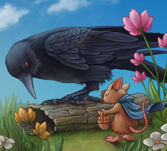 «Encounter in the garden» fantasy children illustration