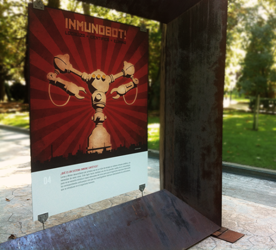 Inmunobot! poster displayed on the San Francisco park in Oviedo