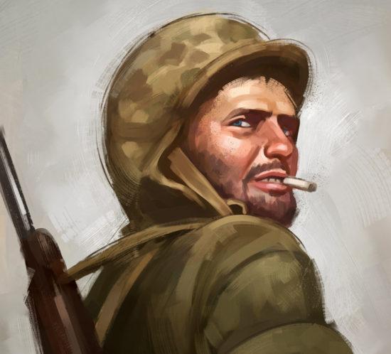 Ilustración de retrato de un agotado norteamericano en el teatro de operaciones del Pacifico en la Segunda Guerra Mundial.