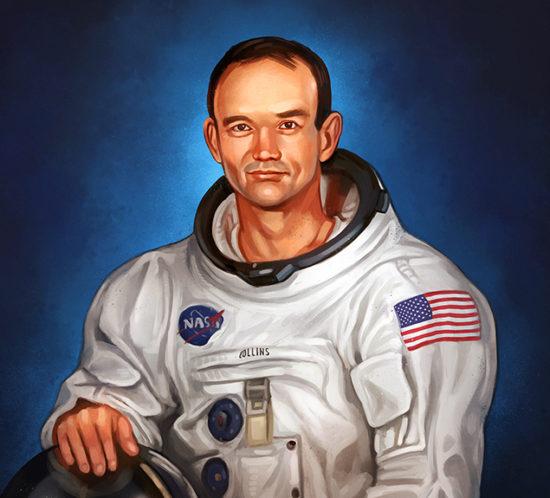 Astronaut Michael Collins portrait illustration