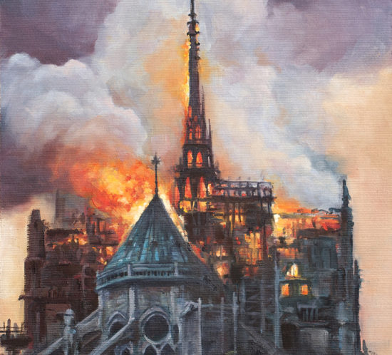 Notre Dame burning painting