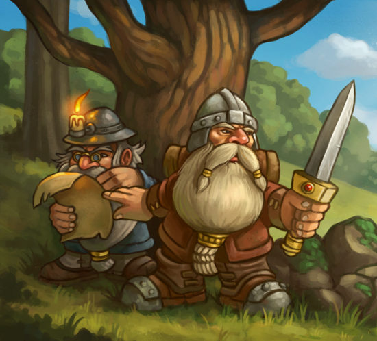 A couple of dwarven warriors emerge out of the woods