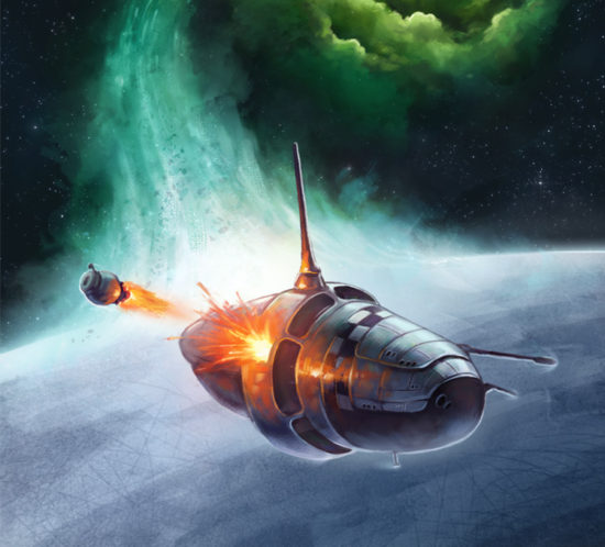 Science fiction space art cover illustration