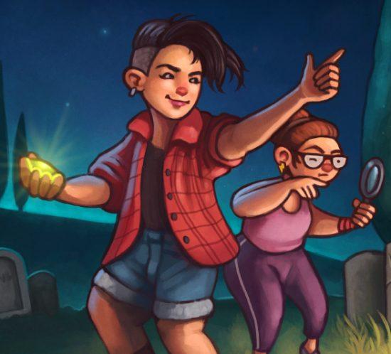 Ilustración para portada de novela juvenil «Mystery in the Graveyard»