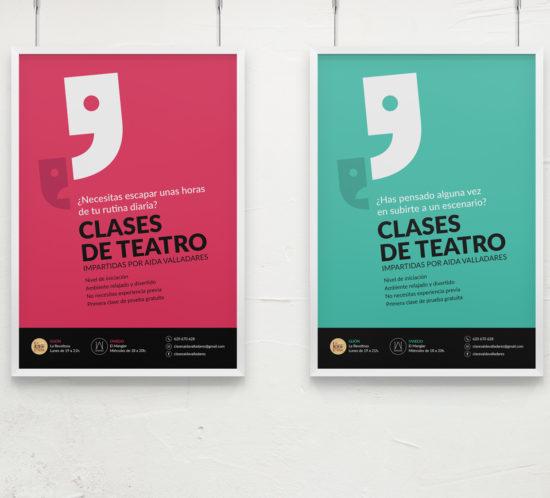 Amateur theatre acting classes poster design