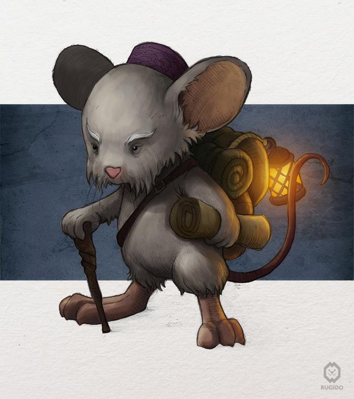Fantasy mouse character design for children book illustration