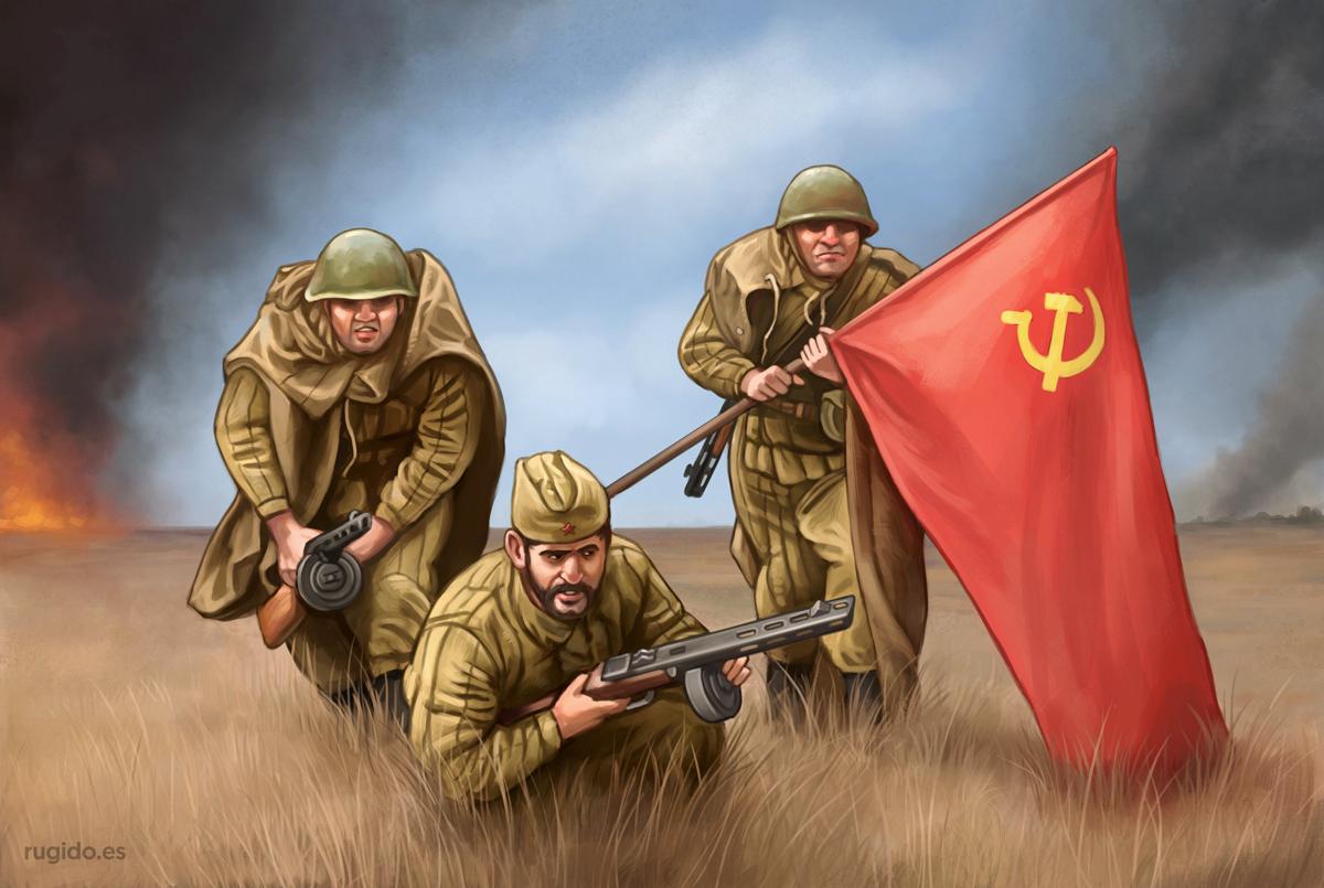 Grupo de mando de infantería soviética en algún lugar del Frente del Este alrededor de 1943 en la Segunda Guerra Mundial.